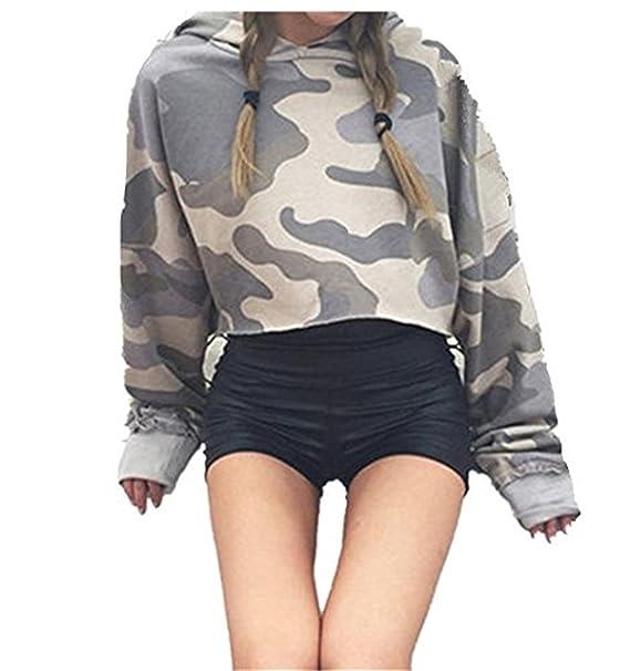 Longra Mujer Camuflaje Sudaderas Cortas, 2017 Mujer Otoño Camisetas De Manga Larga Sudaderas Moda Crop