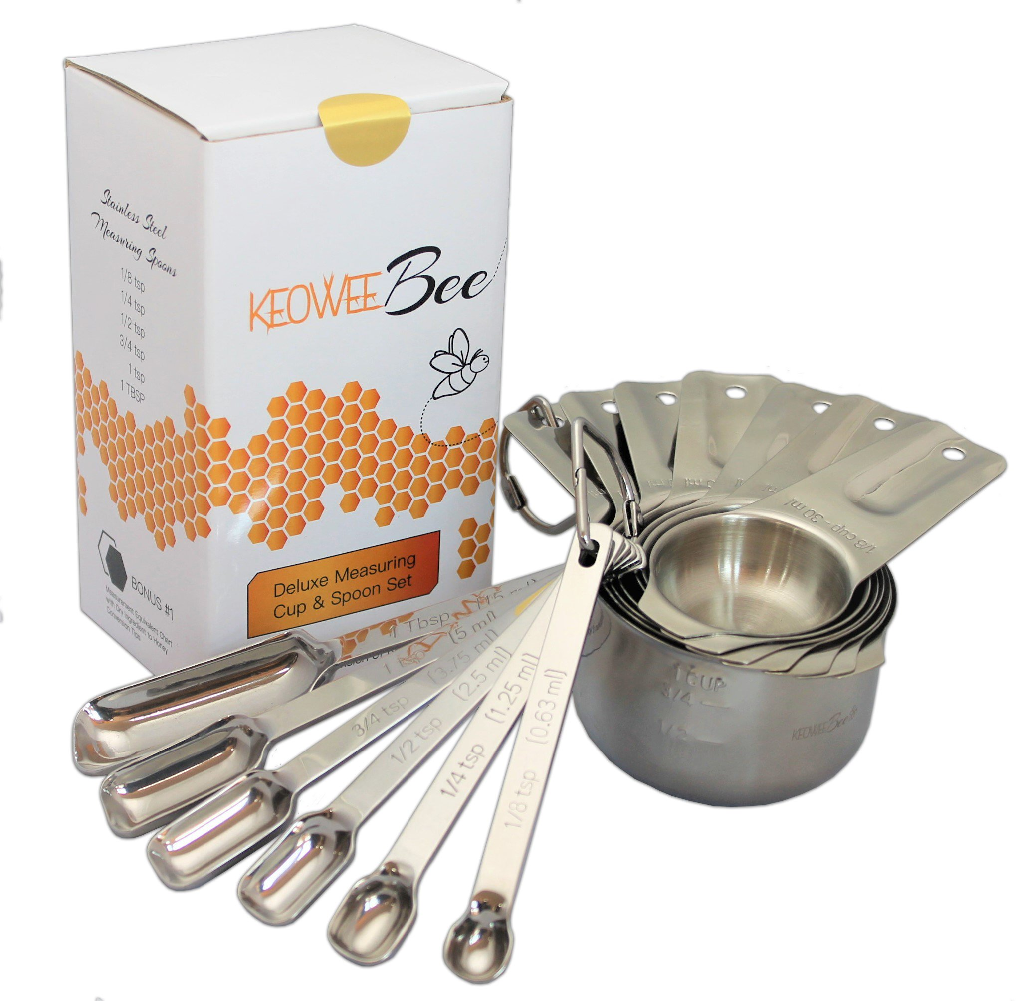 Stainless Steel Measuring Cups and Measuring Spoons - Set of 13 with 2 Bonus Items - By Keowee Bee