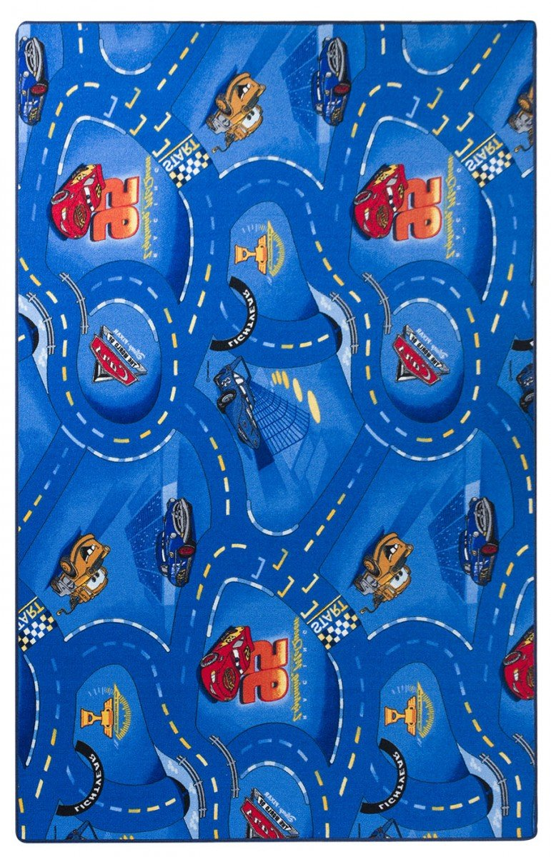 Havatex Kinderteppich Cars - Farben  Rot, Blau, Grau   Spielteppich schadstoffgeprüft pflegeleicht strapazierfähig   Kinderzimmer Spielzimmer Zeichentrick Comic, Farbe Blau, Größe 200 x 300 cm