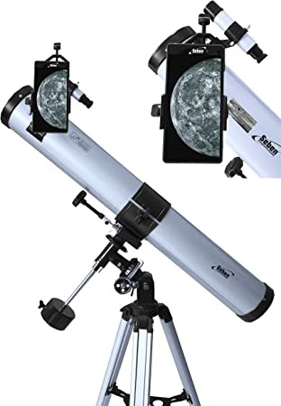 Seben Telescopio Reflector de 900-76 EQ2 + Smartphone Adaptador ...