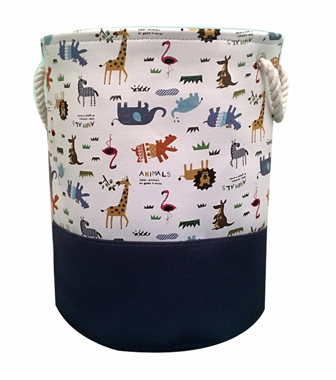 Storage Baskets,Cotton Foldable Round Home Organizer Bin for Baby Nursery,Toys,Laundry,Baby Clothing,Gift Baskets(Animal) HIYAGO