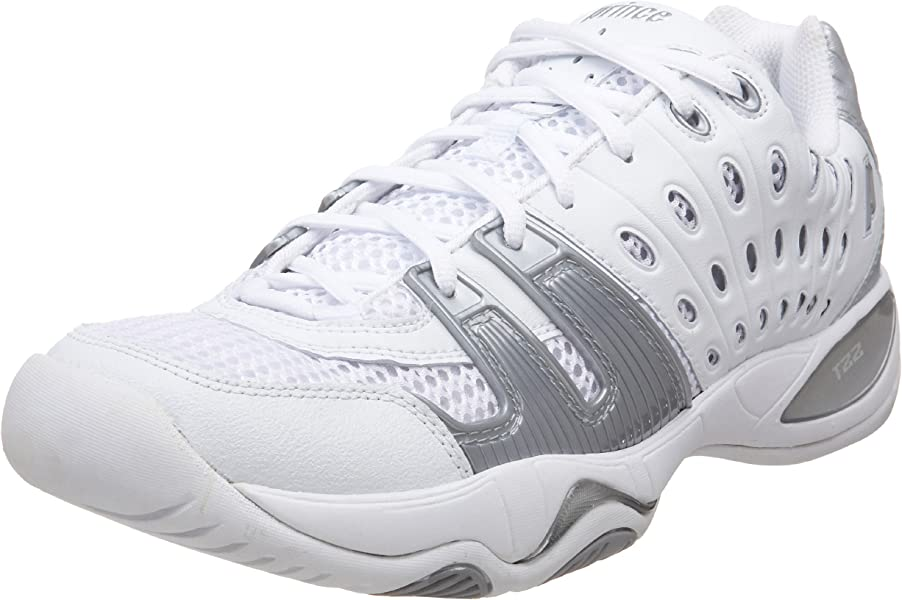 Prince Womens T22 Tennis Shoe,White/Silver,6 ...