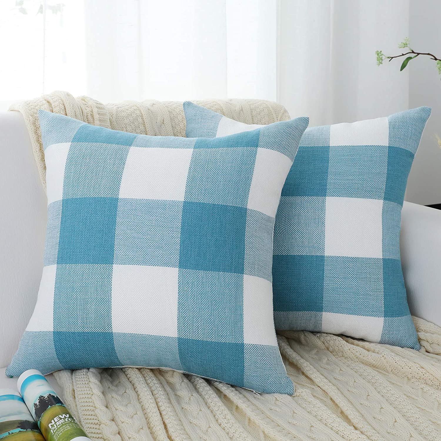 QOPOYU Set of 2 Decorative Farmhouse Line Throw Pillow Covers Plaid Buffalo Check Pillowcases for Home Decor,Couch Sofa Bedroom(Blue and White 20 x 20 Inches)
