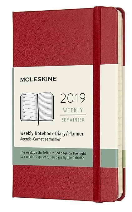 Moleskine DHF212WN2Y19 - Libreta semanal 12m de bolsillo tapa dura, color rojo escarlata