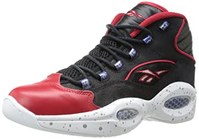 online store 0d6a7 9a6f4 Reebok Men s question mid-m, Black White Excellent Red Royal