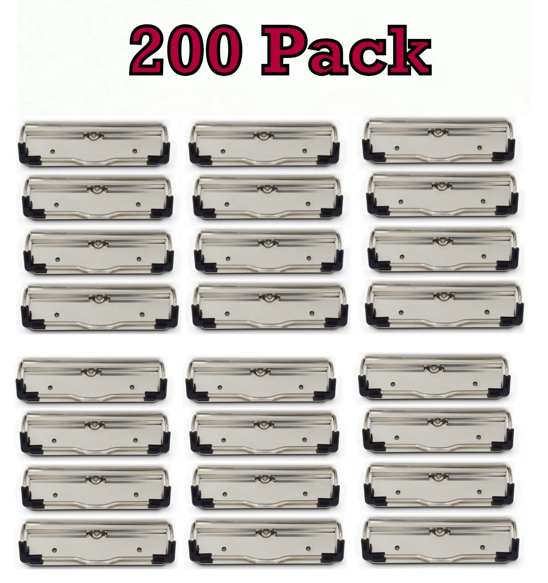 Bulk Pack of Low Profile Clipboard clips with Rubber Feet, holds half inch of paper , LPCx100 (200 Pack)