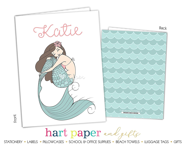 Mermaid 2 Pocket Folder Gift Name Back to School Supplies Teacher Office Birthday Girl Boy Adult Kids Custom Personalized Custom