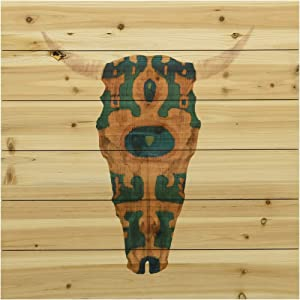 Empire Art Direct Antelope Skull Arte de Legno Digital Print on Solid Wood Wall Décor, 24 in. x 1.5 in. x 24 in, Multicolor