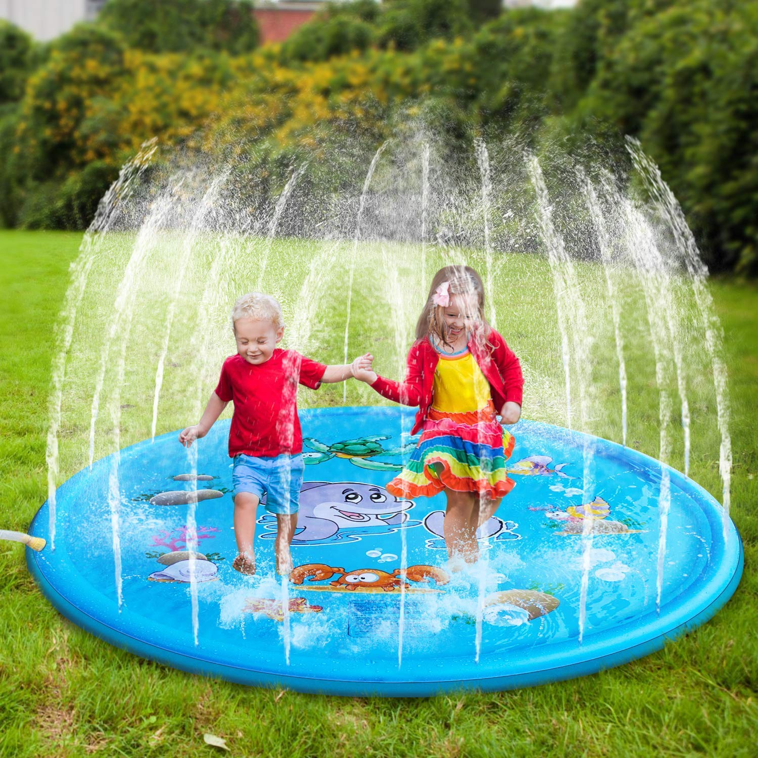 Kindsells Sprinkle and Splash Play Mat for Children Infants, Inflatable Outdoor Sprinkler Pad Summer Water Pad Toys Swimming Party Gift for Kids Toddlers Boys Girls (Blue, 68 inch)
