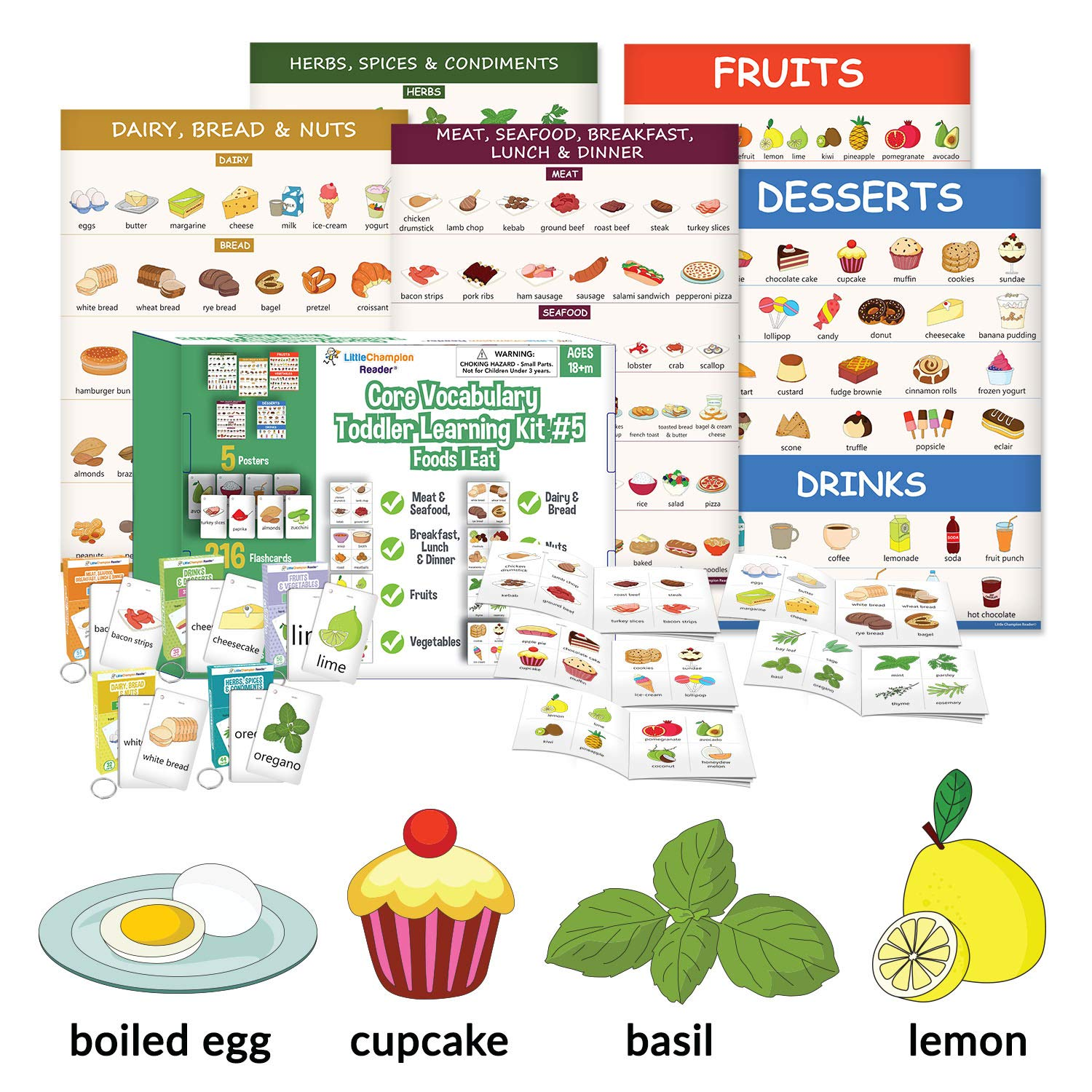 Little Champion Reader Teach Core Vocabulary Toddler Learning Kit 4 (Common Food) - Meals, Fruits & Vegetables, Dairy, Bread, Nuts, Herbs & Spices, Drinks & Desserts