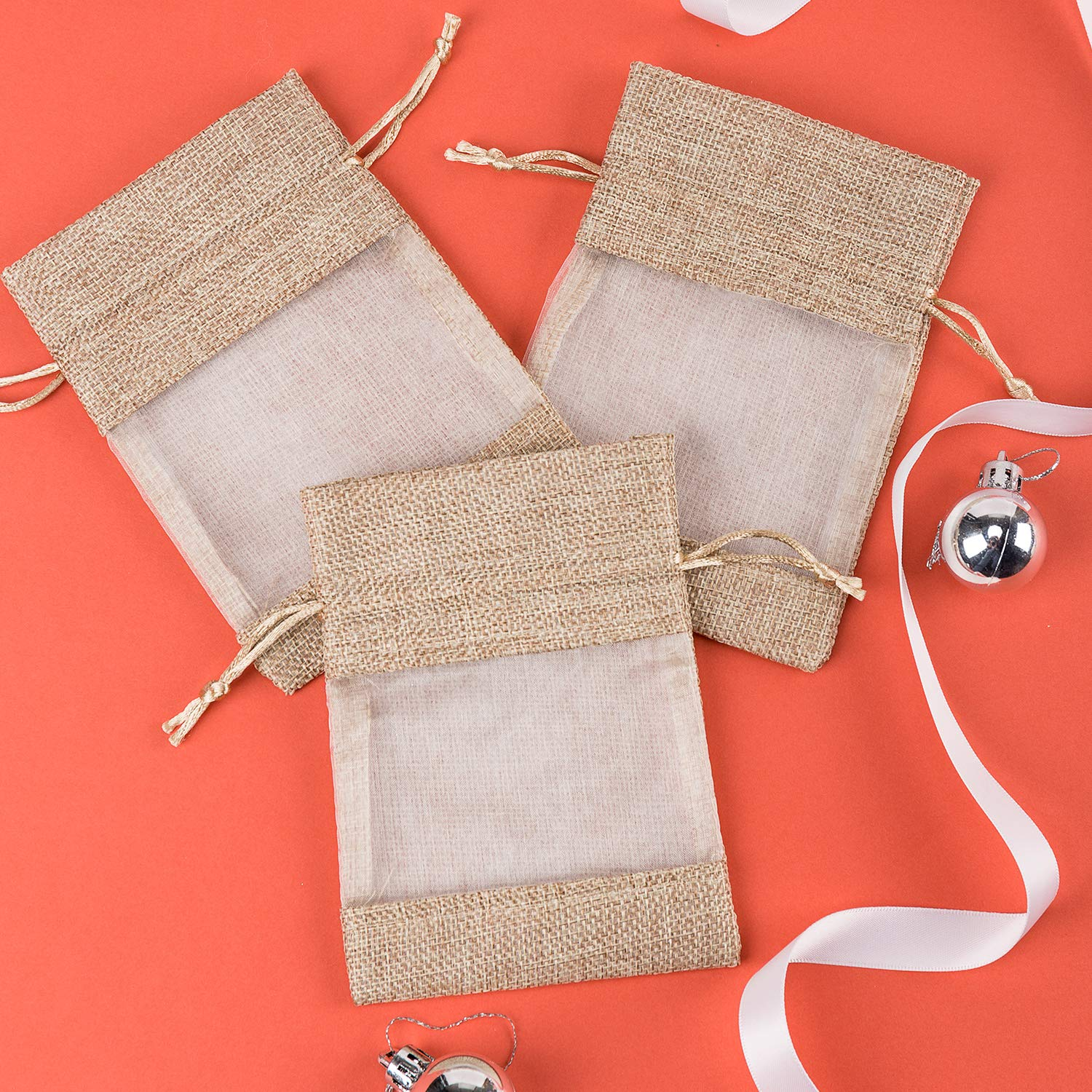 WRAPAHOLIC 4x5.5 inch 20 pcs Burlap Drawstring Gift Bag - Burlap with One Side Organza Wedding Party Welcome Favor Bags - Tan