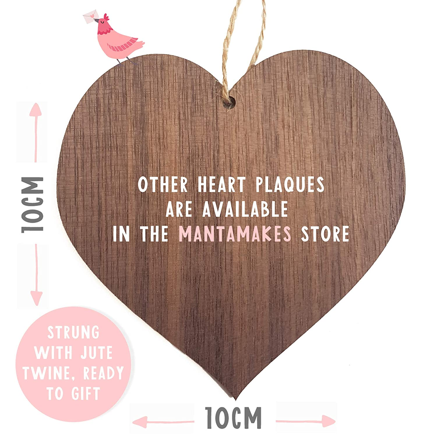 Rainbow bungle and snowman wooden hanging heart plaque sign 10cm