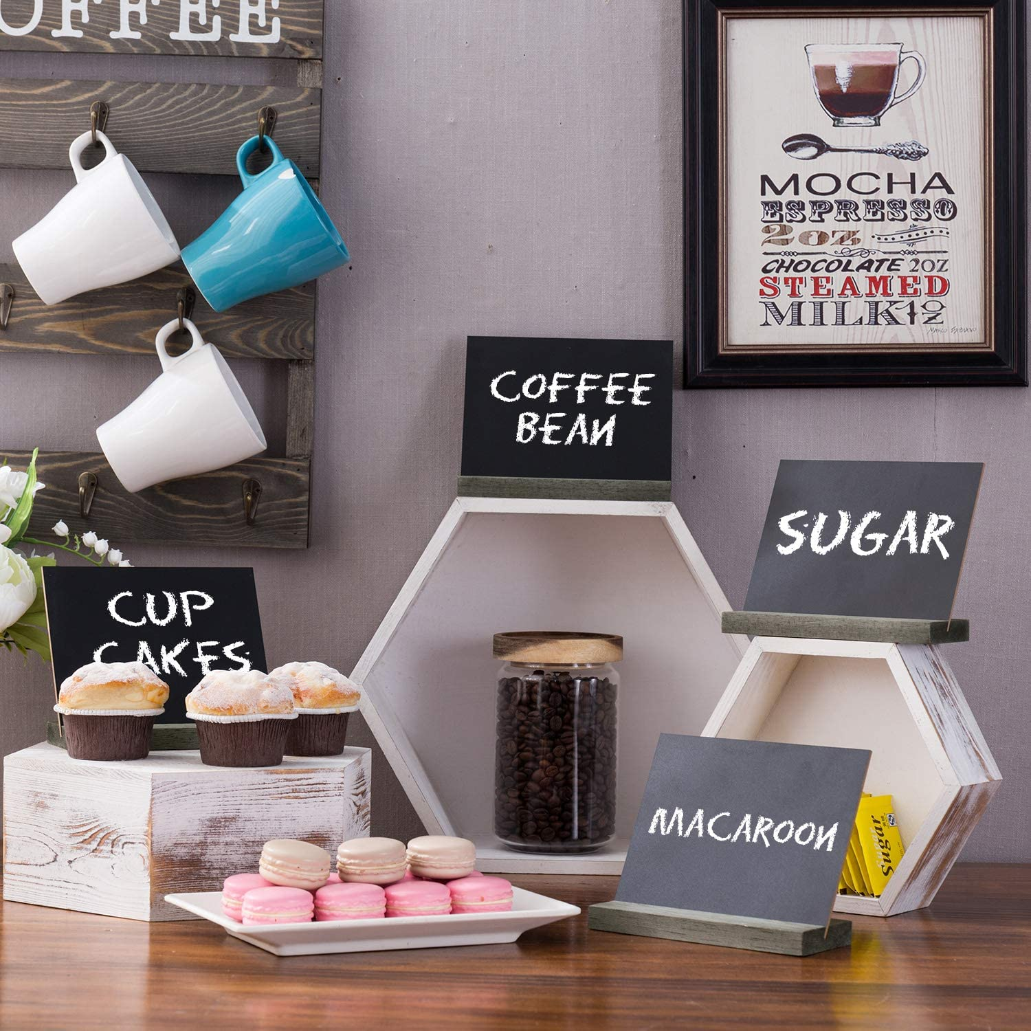 Set of 6 MyGift 6-Inch Tabletop Chalkboard Signs with Vintage White Wood Bases