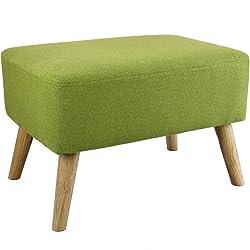 Pouf repose-pieds design scandinave HOLM vert 60x40cm