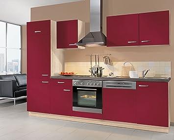Küchenzeile Bordeauxrot Lara links, 280cm breit inkl ...