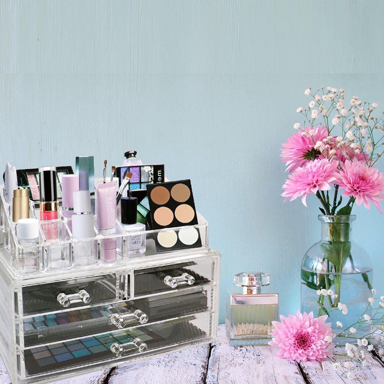 Amazon.com : Organizador De Cosméticos, Accesorios, Joyería Y Maquillaje - Organiza Tu Esmalte De Uñas, Pintalabios, Brochas Y Mucho Más : Beauty