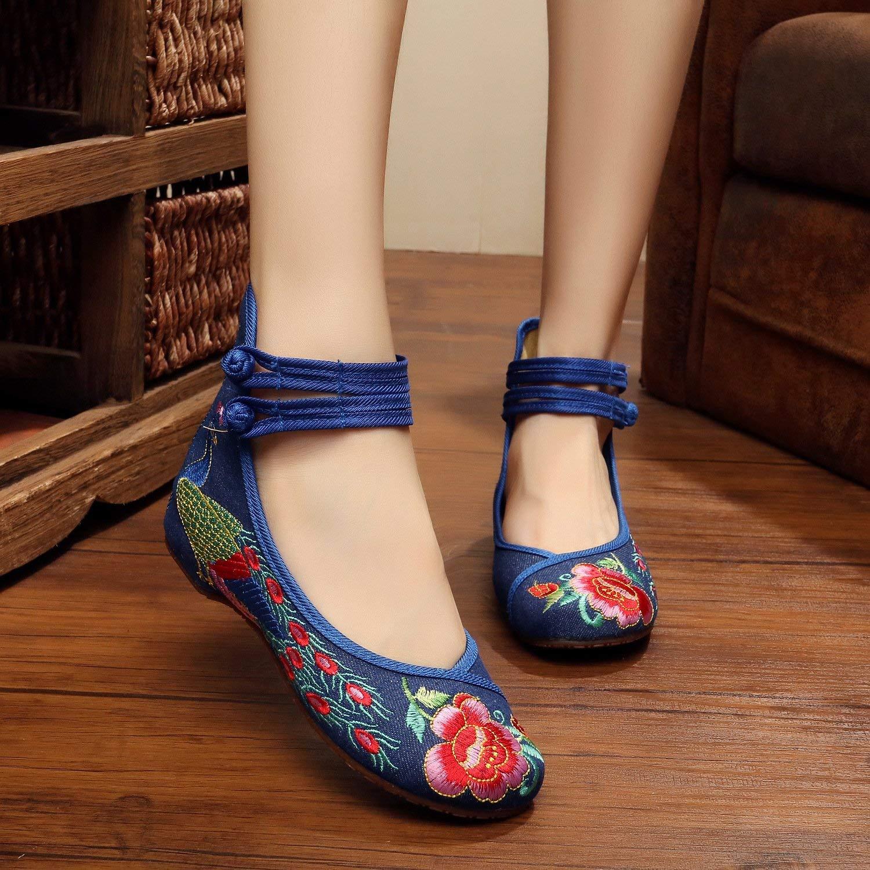 Fuxitoggo Bestickte Bestickte Bestickte Schuhe Sehnensohle Ethno-Stil weibliche Stoffschuhe Mode bequem lässig innerhalb der Erhöhung Marineblau 42 (Farbe   - Größe   -) af6620