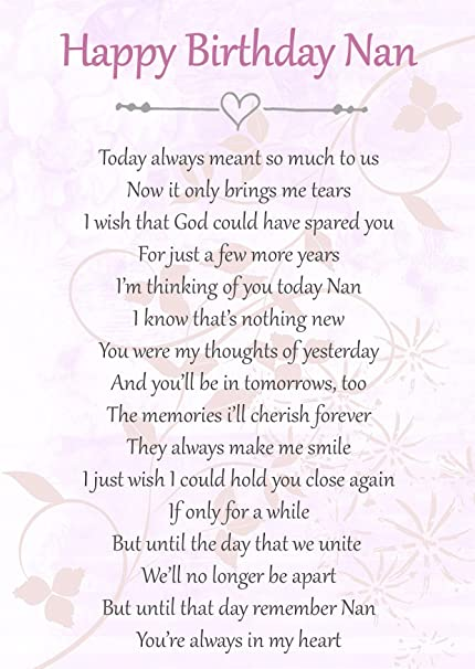 Happy Birthday Nan Memorial Graveside Poem Keepsake Card Includes