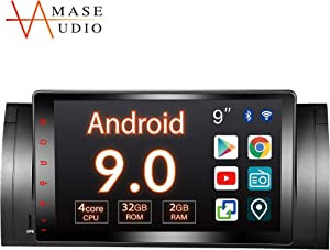 "Car Stereo, 1 Din for BMW 5 Series E39 M5 X 5, 9"" Touchscreen, DSP+, Support Android Auto/GPS navigation/HD1080P//Fast Boot/Backup Camera/OBDII"
