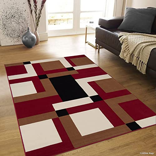 Allstar 8×11 Red and Mocha Modern and Contemporary Rectangular Accent Rug