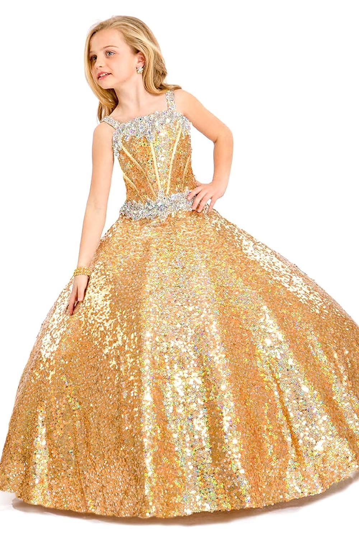 Amazon Aiduo Big Girls Floor Length Sequins Glitz Pageant