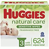 Baby Wipes, Huggies Natural Care Sensitive Baby Diaper Wipes, Unscented, Hypoallergenic, 3 Refill Packs (624 Wipes Total)