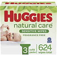 Amazon Price History:Huggies Natural Care Sensitive Baby Wipes, Unscented, 3 Refill Packs (624 Wipes Total)