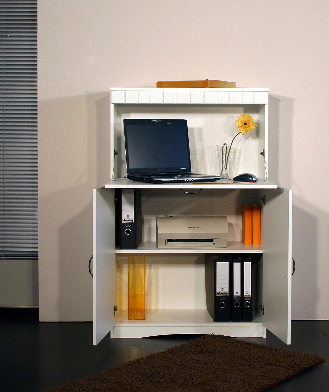 4132-1 Sekretär oder PC-Schrank im Landhaus-Stil, in weiß: Amazon ...