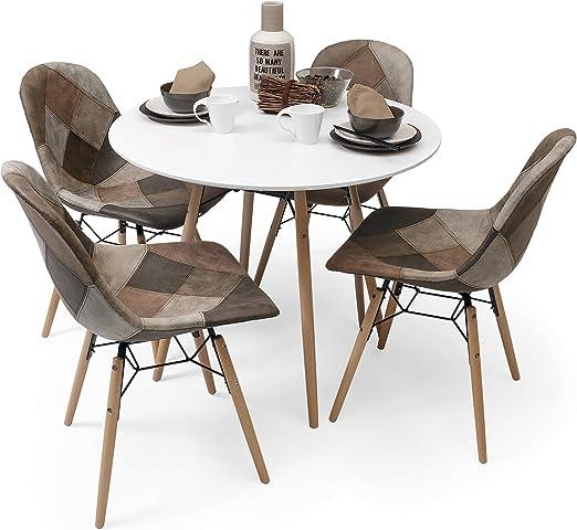 Homely - Conjunto de Comedor de diseño nórdico BONIE & CLIDE Mesa ...