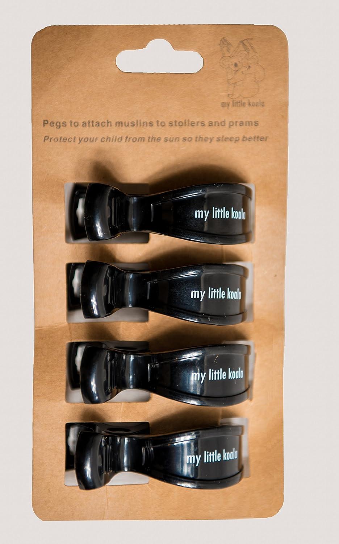 Pinza gancho broche de cochecito para sostener sabanas muselinas cubierta de maternidad mantos de sol – Negros – Cuatro en cada paquete