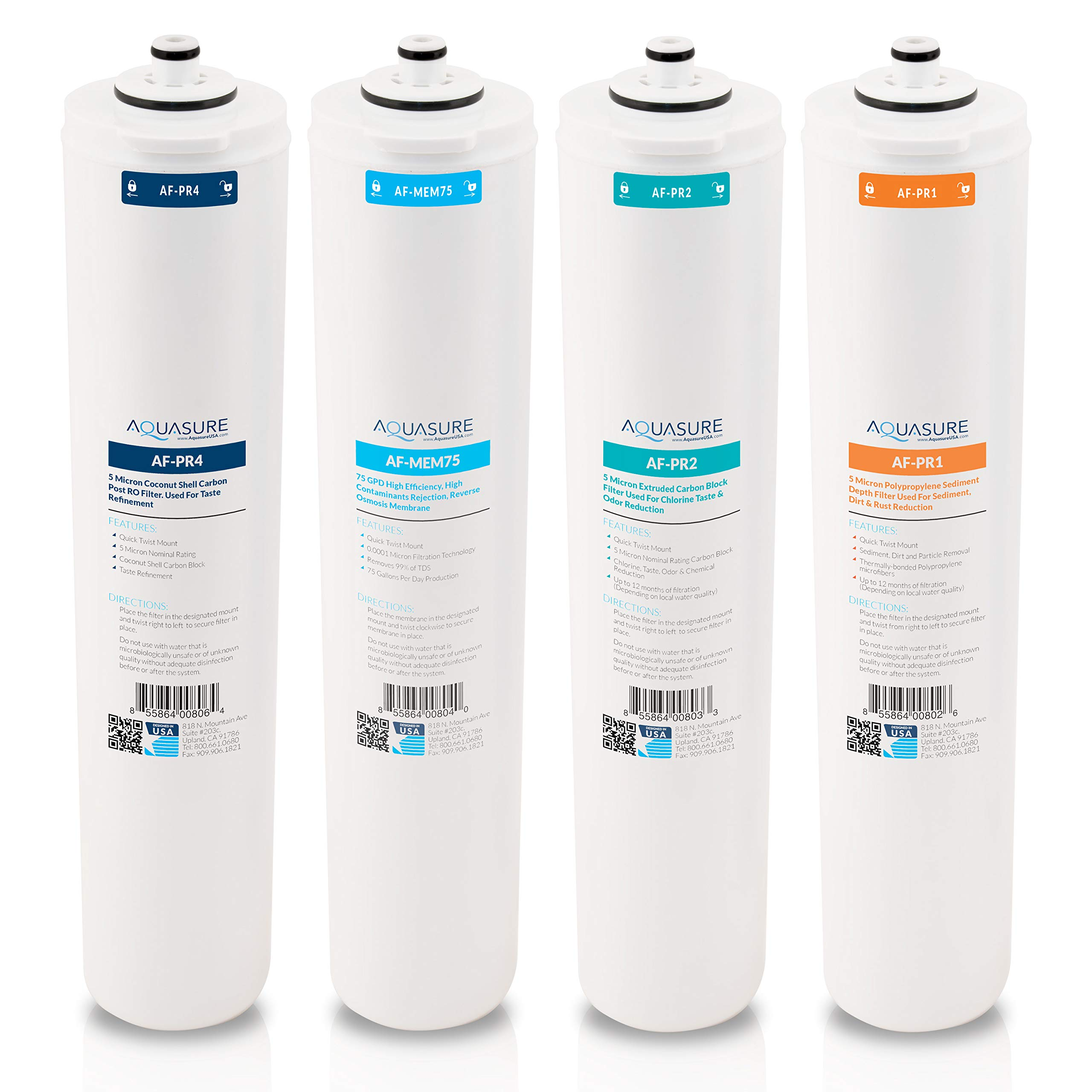 Aquasure Premier Series Complete 4 Stages Quick Change Filter Bundle with 75 GPD Reverse Osmosis Membrane