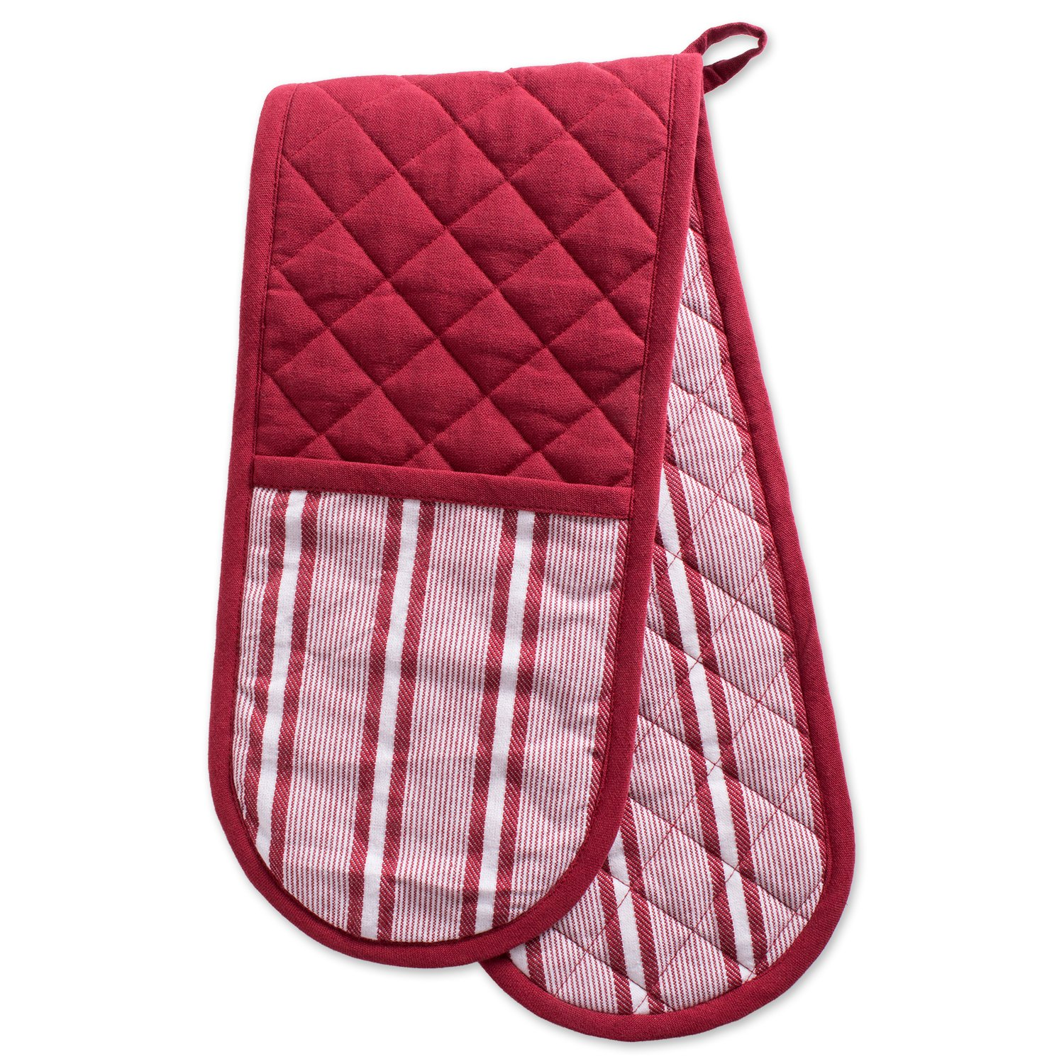 """DII Cotton Stripe Quilted Double Oven Mitt, 35 x 7.5"""", Machine Washable and Heat Resistant Kitchen Moppine for Everyday Cooking and Baking-Barn Red"""