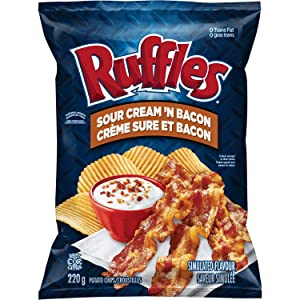 Lays Ruffles Sour Cream & Bacon Potato Chips, Large Bag, {Imported from Canada}