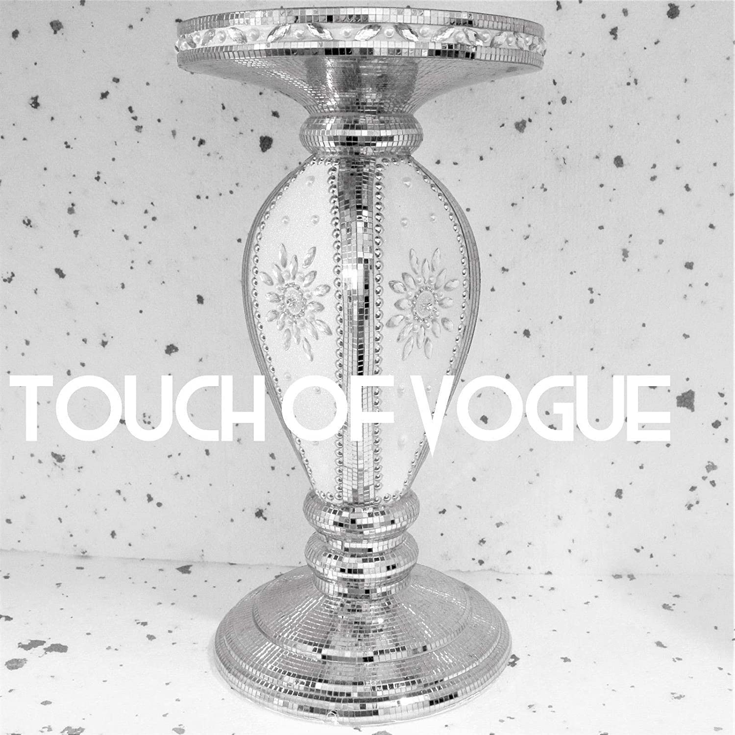 Touch of Vogue TOV/® Black Mirrored Side Table Modern Plant Stands Bed Side Sparkle End Romany Pearl