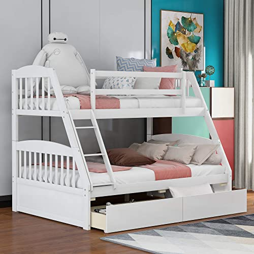 Merax Solid Wood Twin Over Full Bunk Bed
