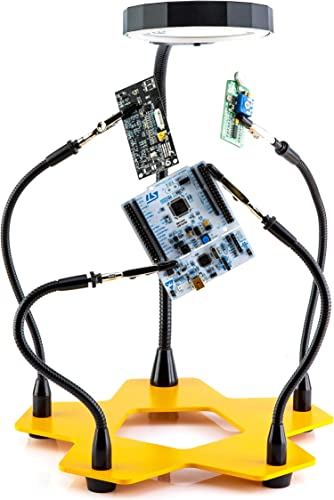 KOTTO LED Lighted Magnifying Third Hand Soldering PCB Holder Tool Five Arms Helping Hands Crafts Jewelry Hobby Workshop Helping Station Non-slip weighted base, LED Lamp