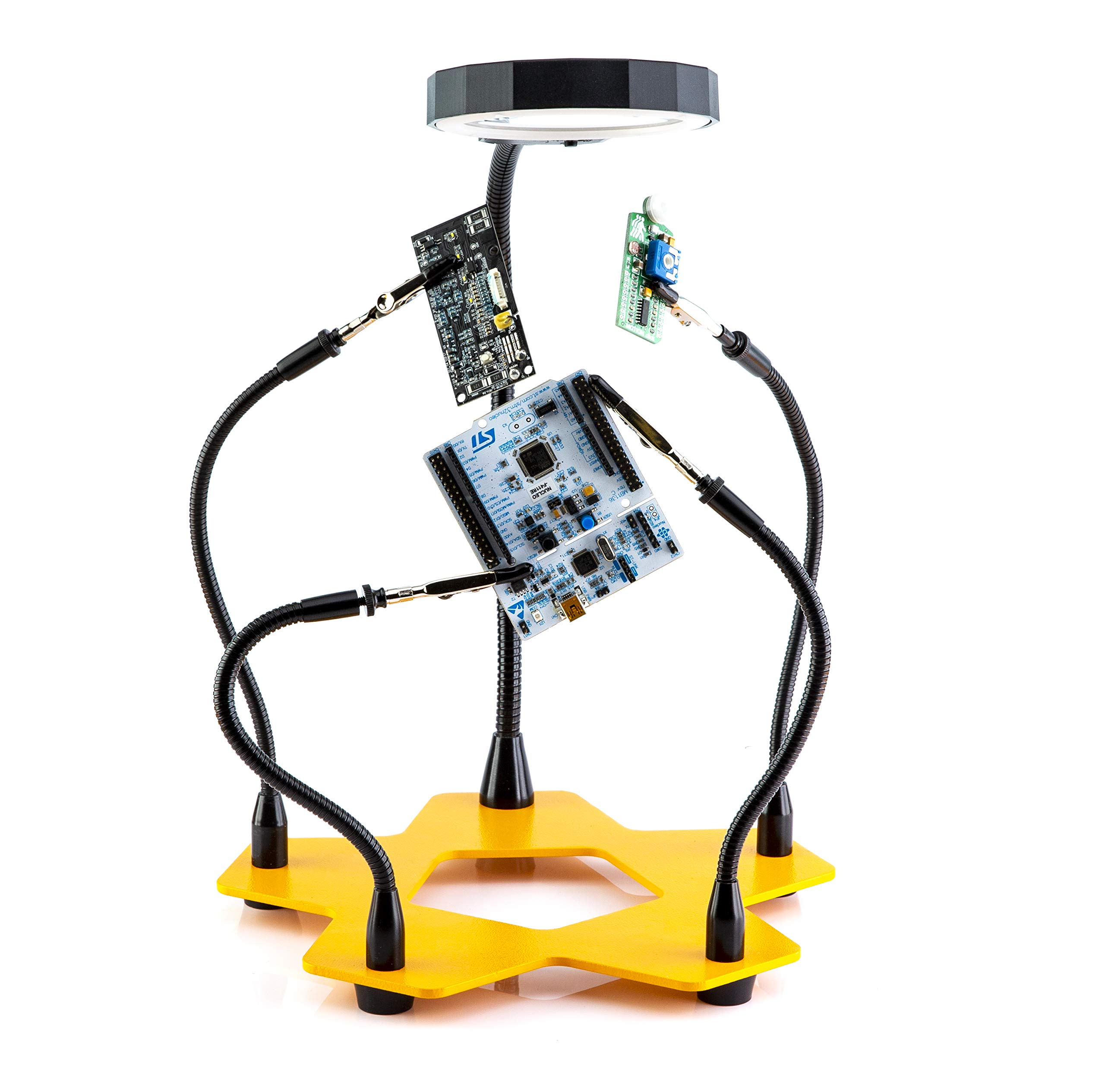 LED Lighted Magnifying Third Hand Soldering PCB Holder Tool Five Arms Helping Hands Crafts Jewelry Hobby Workshop Helping Station Non-slip weighted base, LED Lamp by Fstop Labs