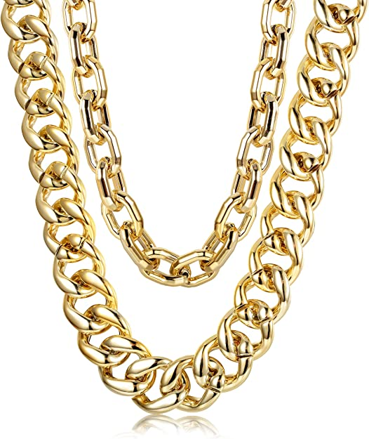 80s Costumes, Outfit Ideas- Girls and Guys Hanpabum 2 PCS Men Gold Plated Big Chunky Necklace Hip Hop Jewelry 80s 90s Personalized Punk Style Chain Necklace Costume Jewelry $12.99 AT vintagedancer.com