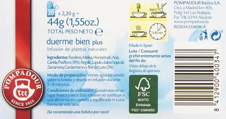 Pompadour Té Duerme Bien Plus Multifusión - 20 Bolsitas: Amazon.es: Amazon Pantry