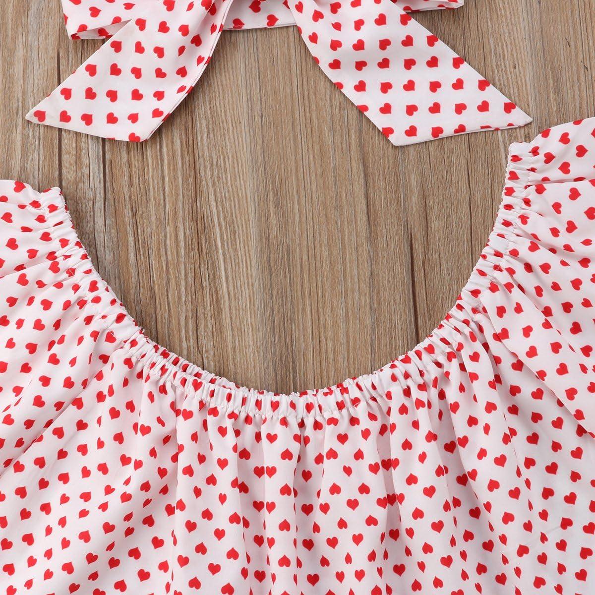 Newborn Baby Girls Love Printed Off Shoulder Top Shorts Headband 3 Pcs Outfit Set