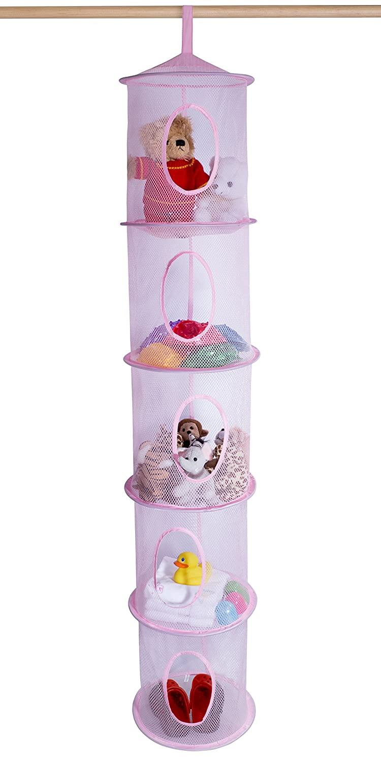 5 Tier Storage Organizer - 12 X 59 - Hang in Your Children's Room Or Closet for a Fun Way to Organize Kids Toys Or Store Gloves, Shawls, Hats and Mittens. Attaches Easily to Any Rod. (Dog) Handy Laundry 5296