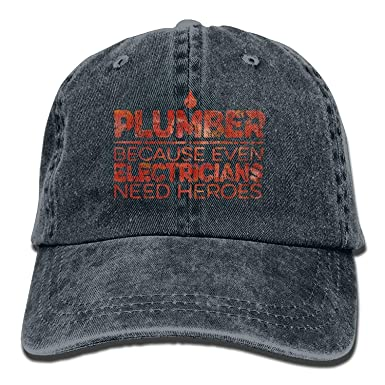 Image Unavailable. Image not available for. Color  Plumber Hero Plumber  Lover Gift Classic Unisex Baseball Cap Adjustable Washed Dyed Cotton Ball  Hat Black e3c5489076e9