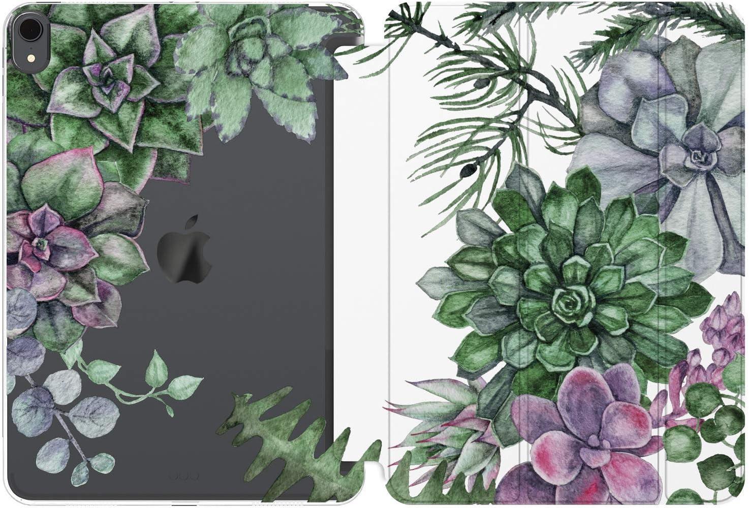 Cavka Case for Apple iPad 10.2 8th Gen 12.9 Pro 11 10.5 9.7 Air 3 Mini 5 4 3 2 1 2019/18 Protective Plants Greenery Watercolor Flowers Succulent Auto Wake Sleep Lightweight Leaf Print