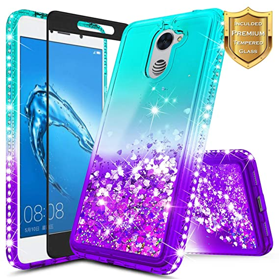 sports shoes d03ae 14ae1 NageBee Compatible Huawei Ascend XT 2 (H1711) / Elate 4G LTE w/[Full  Coverage Tempered Glass Screen Protector], Glitter Liquid Quicksand Flowing  ...