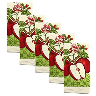 Kitchen Collection 5-Piece Kitchen Towel Set, Decorate Your Kitchen In Style, A Must In Every Kitchen, Absorbent And Durable for Wiping Down Countertops Or Dusting, Beautiful Design (Sliced Apples)