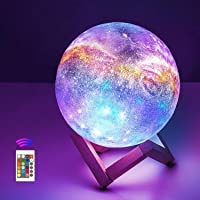 OxyLED Moon Lamp, 16 Colors 5.9 Inch 3D Print LED Galaxy Moon Light Dimmable with Stand Remote Touch Tap Control and USB…