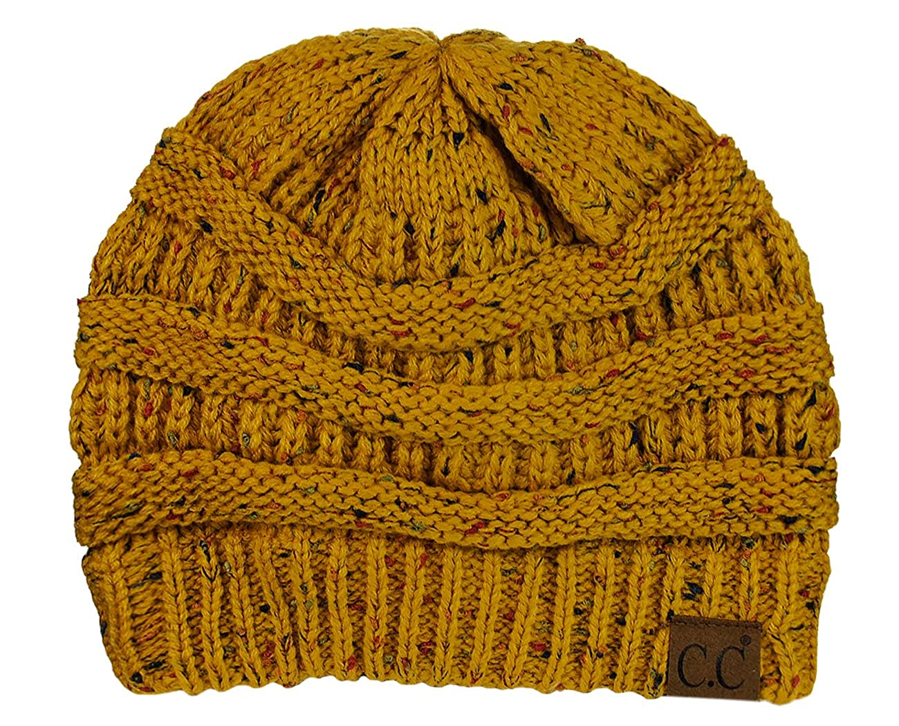 C.C Unisex Colorful Confetti Soft Stretch Cable Knit Beanie Skull Cap -  Mustard at Amazon Women s Clothing store  3d7eb37ac0e