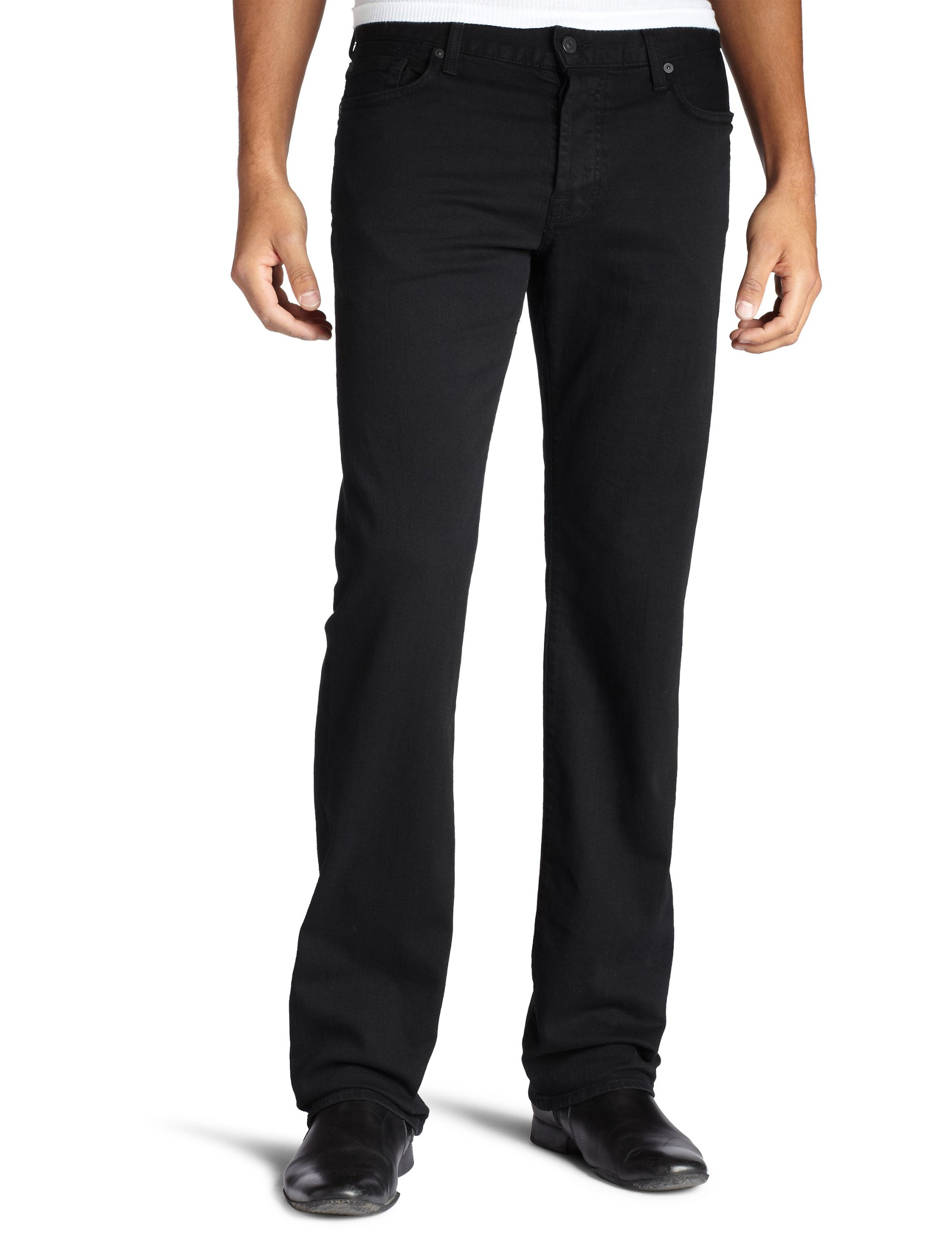 7 For All Mankind Men's Standard Straight Leg Jean in Black Out,  Black Out, 31X34