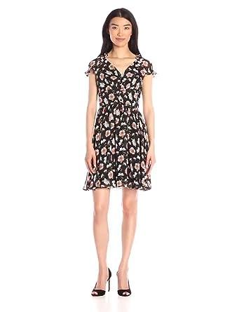 b1b5bd0ec520 Amazon.com: Betsey Johnson Women's Vintage Ditzy Floral Dress, Black ...