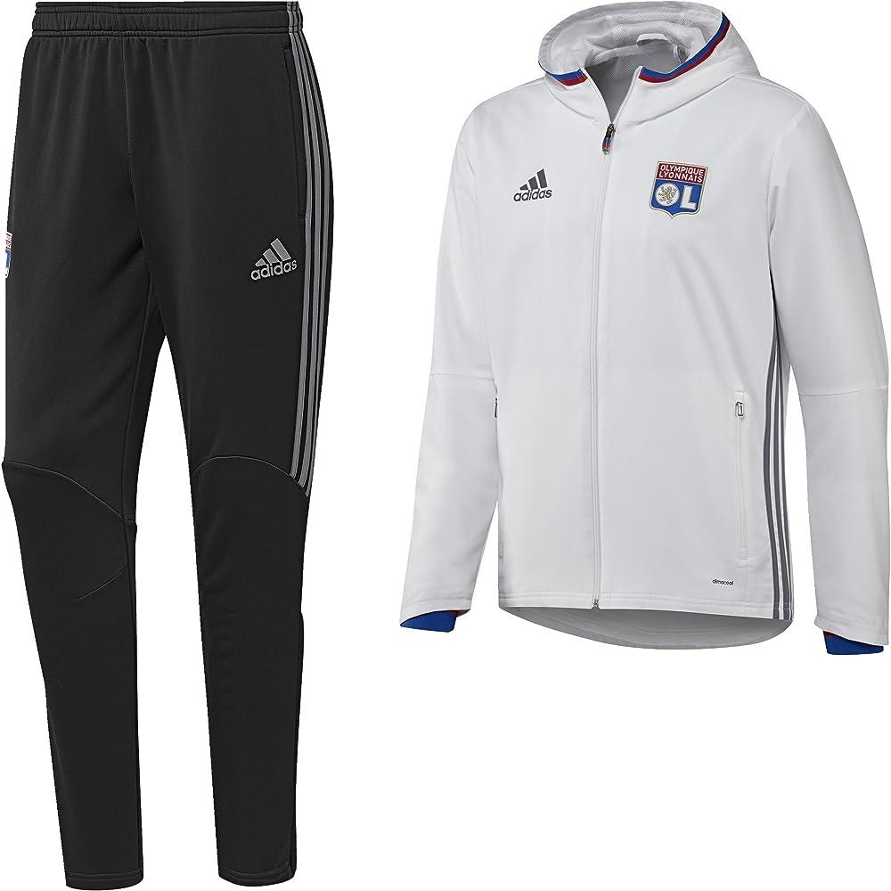 adidas Olympique de Lyon PRES Suit Chándal, Hombre, Blanco/Gris ...